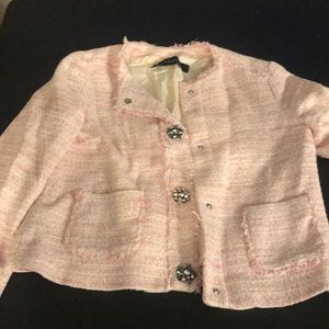 Zara Basic Sz M Pink Tweed Jacket